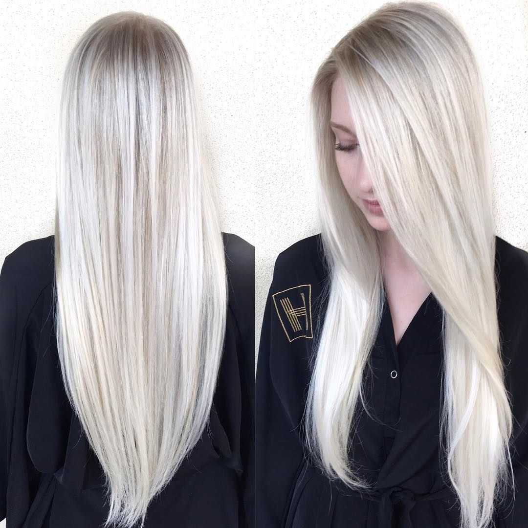 This Sleek Platinum Blonde Hair With Side Part And V Cut Within Favorite Sleek Straight And Long Layers Hairstyles (View 19 of 20)