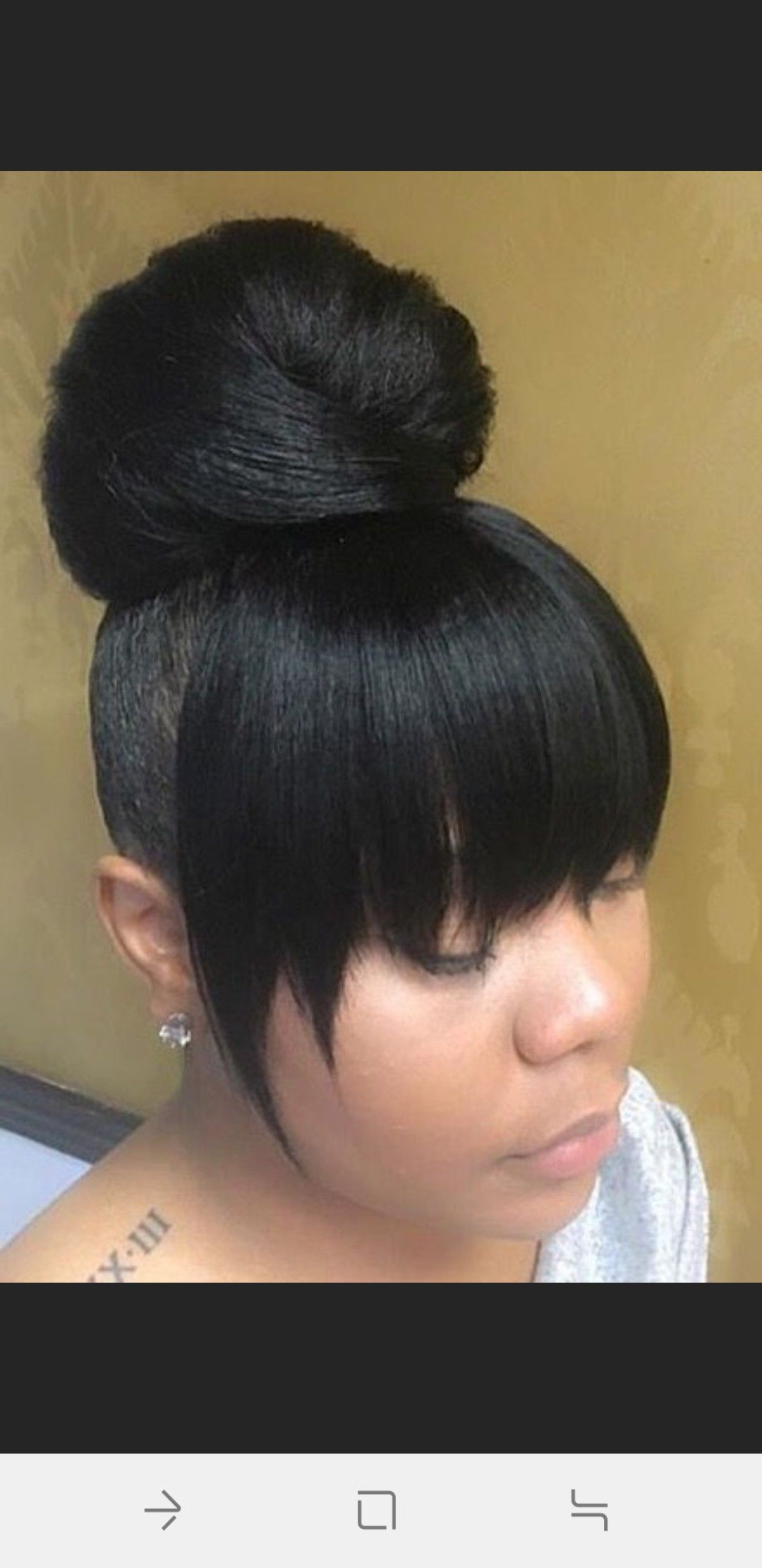 Trendy High Bun With Twisted Hairstyles Wrap And Graduated Side Bang Pertaining To Pin On Hair Styles (View 18 of 20)
