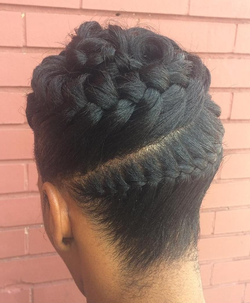 Updo Hairstyle #7: Easy Braided Updo Hairstyle In 2019 Throughout Newest High Bun With Twisted Hairstyles Wrap And Graduated Side Bang (View 19 of 20)