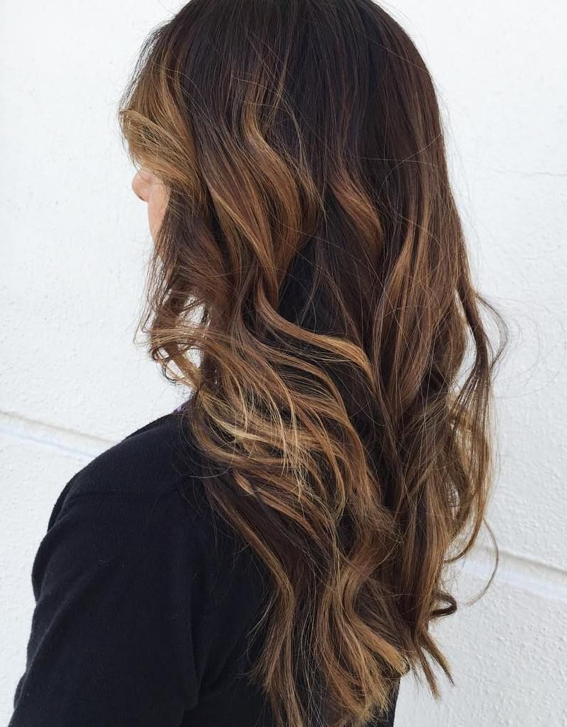Well Known Black To Light Brown Ombre Waves Hairstyles For 60 Hairstyles Featuring Dark Brown Hair With Highlights (View 2 of 20)