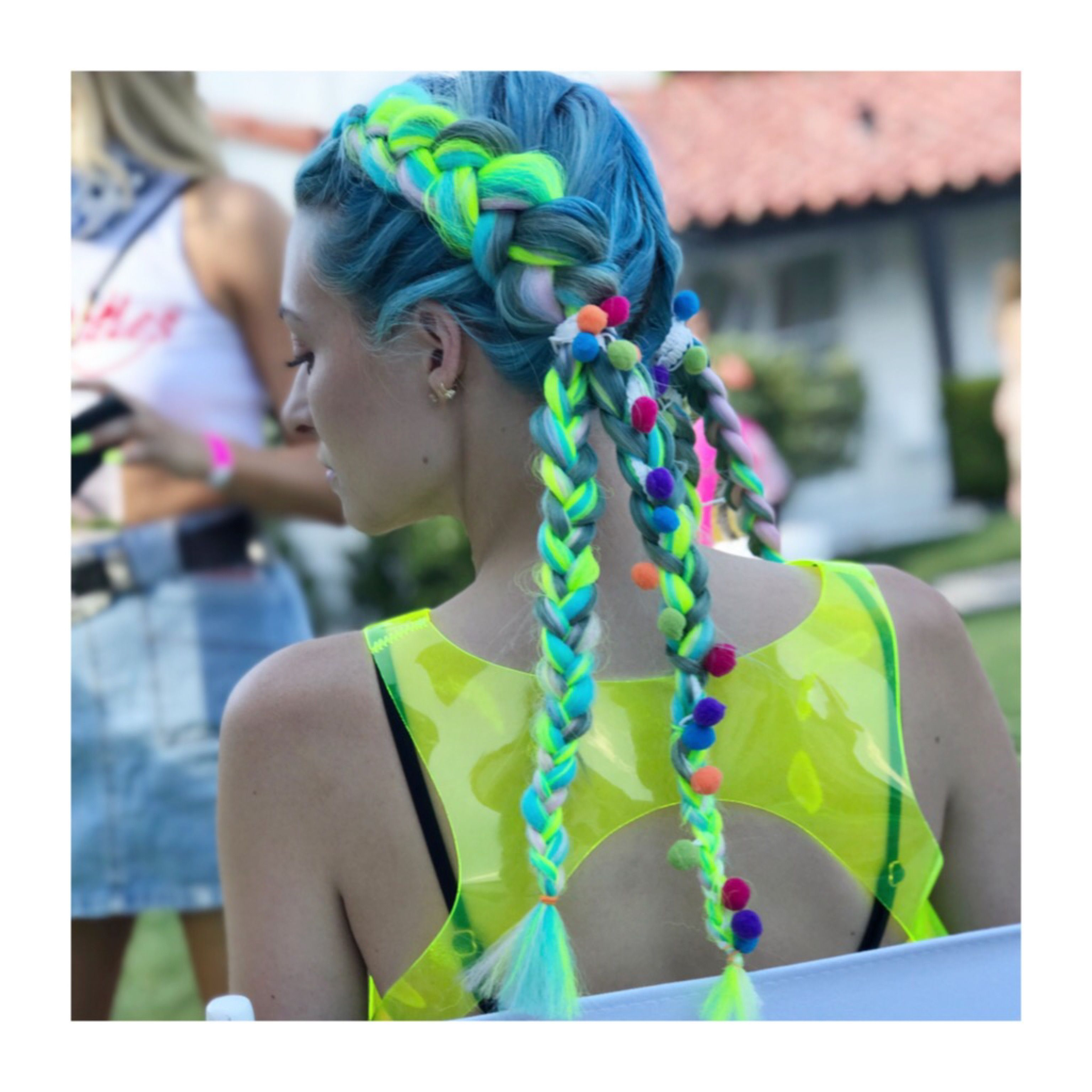 Well Known Blue Braided Festival Hairstyles Throughout Festival Coachella Hair Braids Blue Hair Pom Pom Braids (Gallery 13 of 20)
