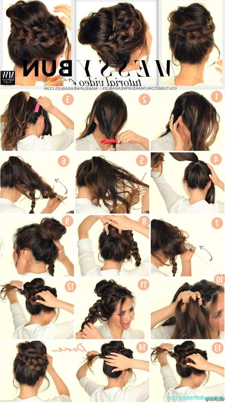 Well Known Braided High Bun Hairstyles With Layered Side Bang Intended For 47 Messy Updo Hairstyles That You Can Wear Anytime, Anywhere (Gallery 11 of 20)