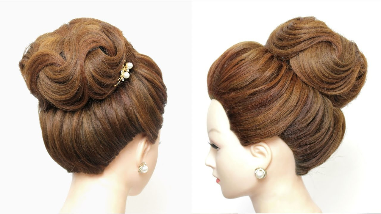 Well Known Elegant High Bouffant Bun Hairstyles Intended For New Bridal Hairstyle For Long Hair Tutorial (View 7 of 20)