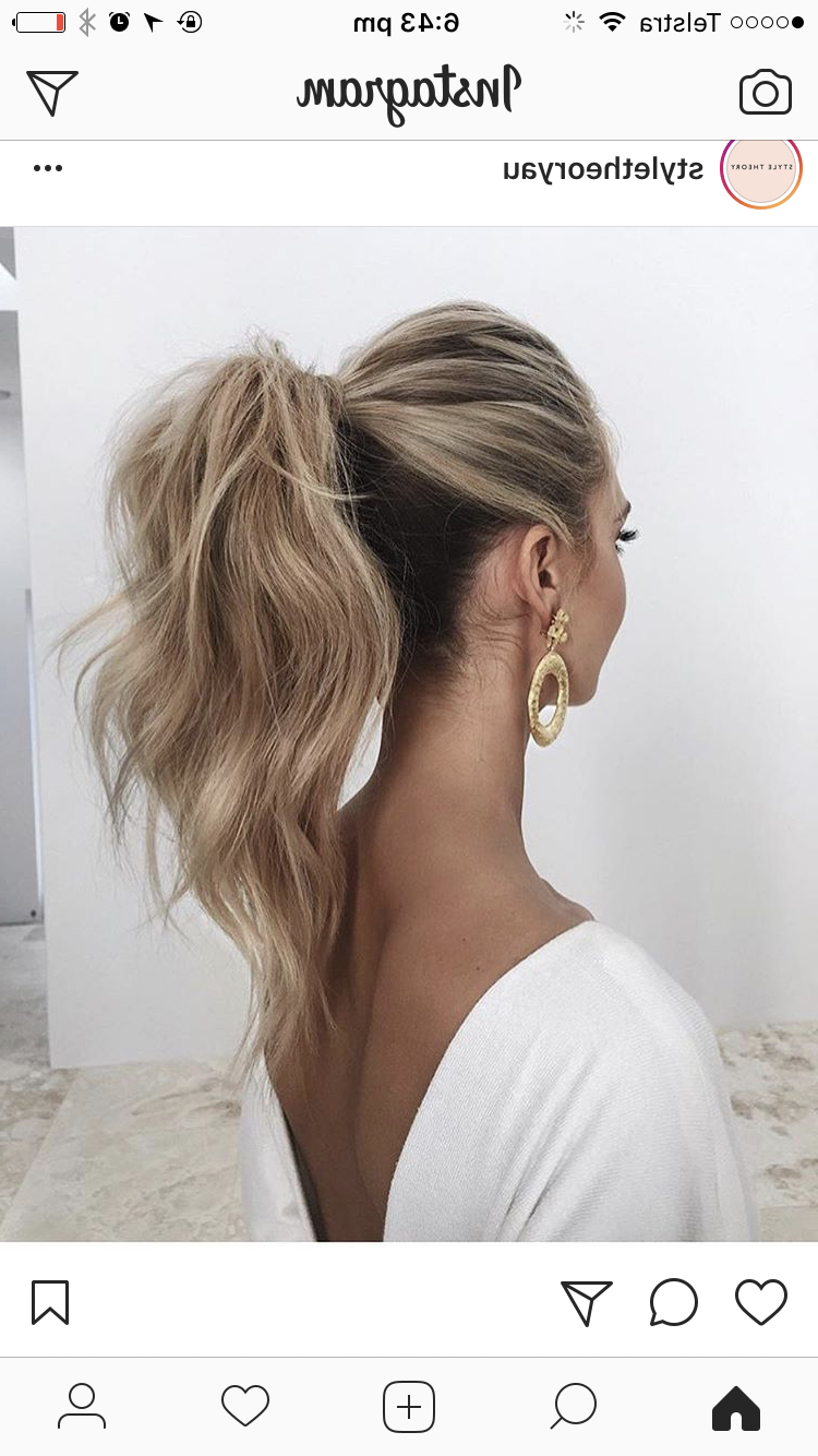 Well Known Messy Voluminous Ponytail Hairstyles With Textured Bangs Regarding Hair For A Wedding Guest In 2019 (Gallery 6 of 20)