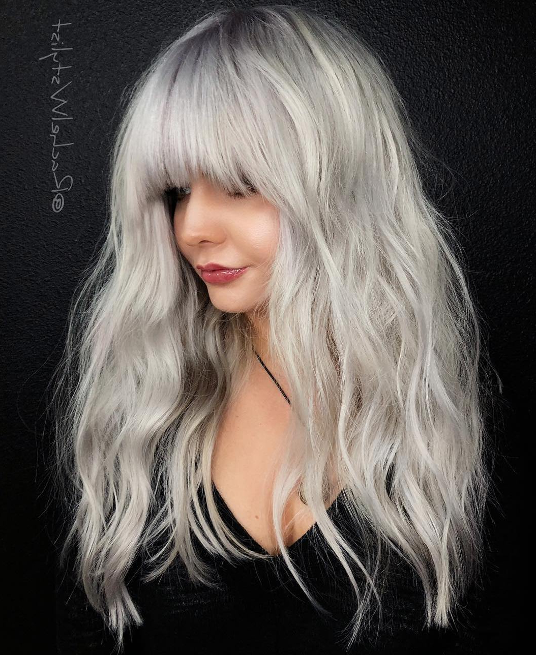 Well Known Messy Voluminous Ponytail Hairstyles With Textured Bangs Within 35 Instagram Popular Ways To Pull Off Long Hair With Bangs (Gallery 19 of 20)