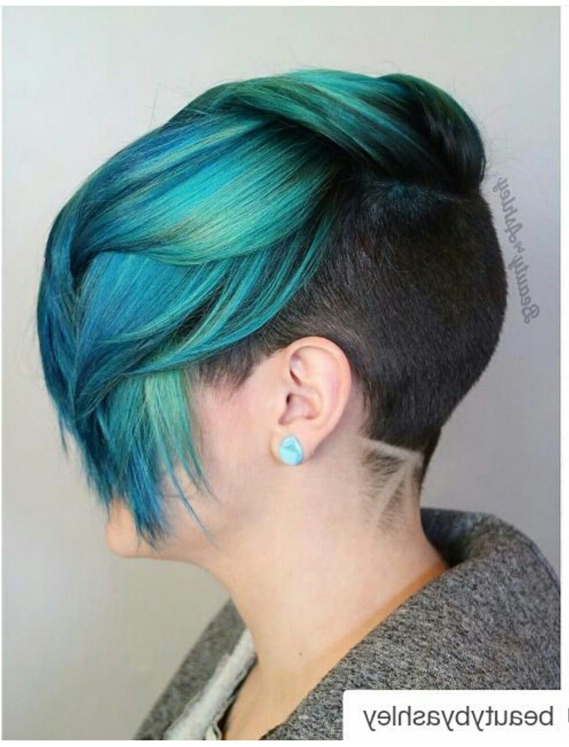 Well Liked Icy Purple Mohawk Hairstyles With Shaved Sides With Regard To Turquoise Teal Green Dyed Hair With Shaved Sides And Back (View 13 of 20)