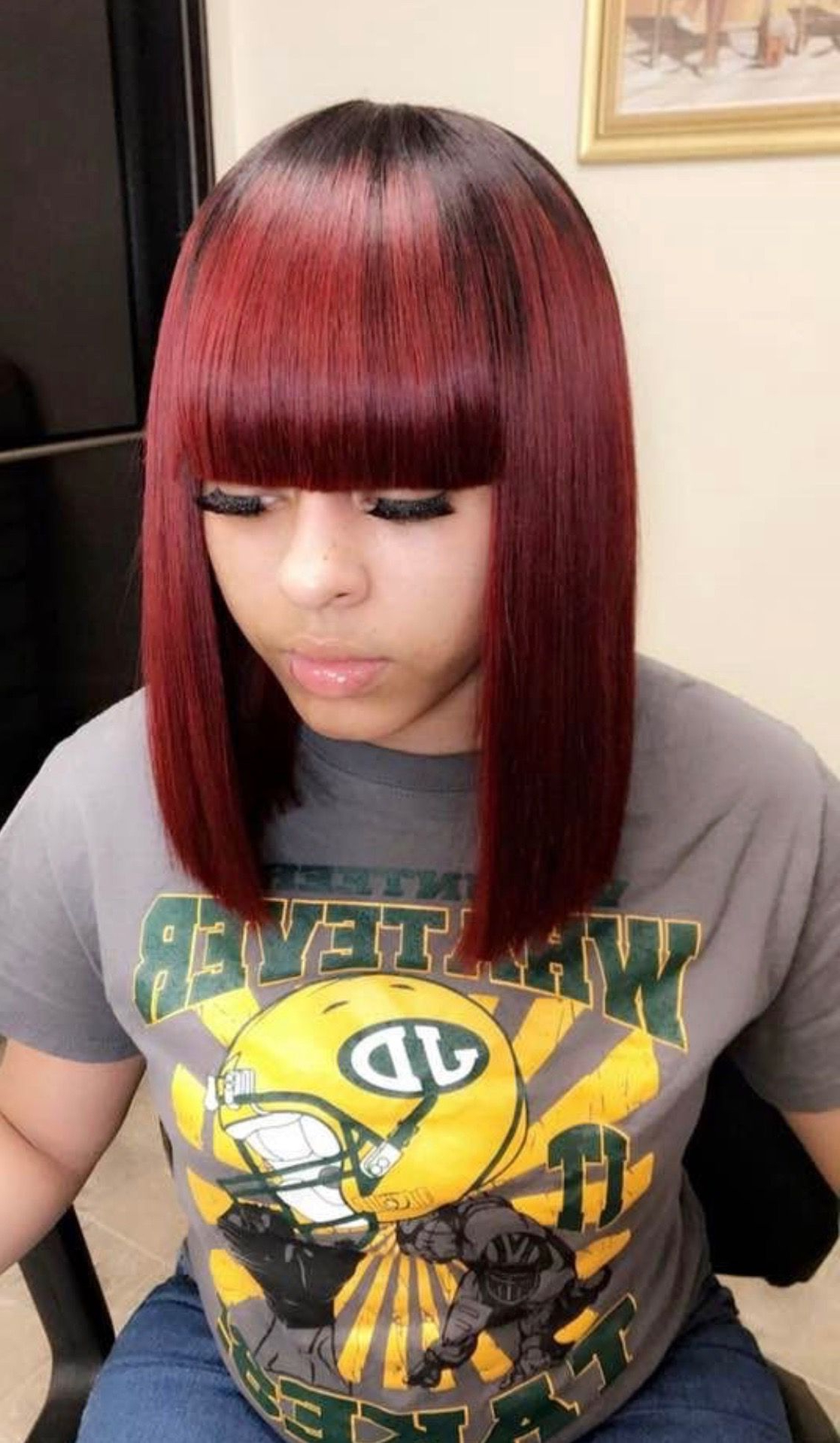 Well Liked Medium Length Red Hairstyles With Fringes With Sew In Weave Colored Burgundy With Bangs Bob / Shoulder (View 6 of 20)