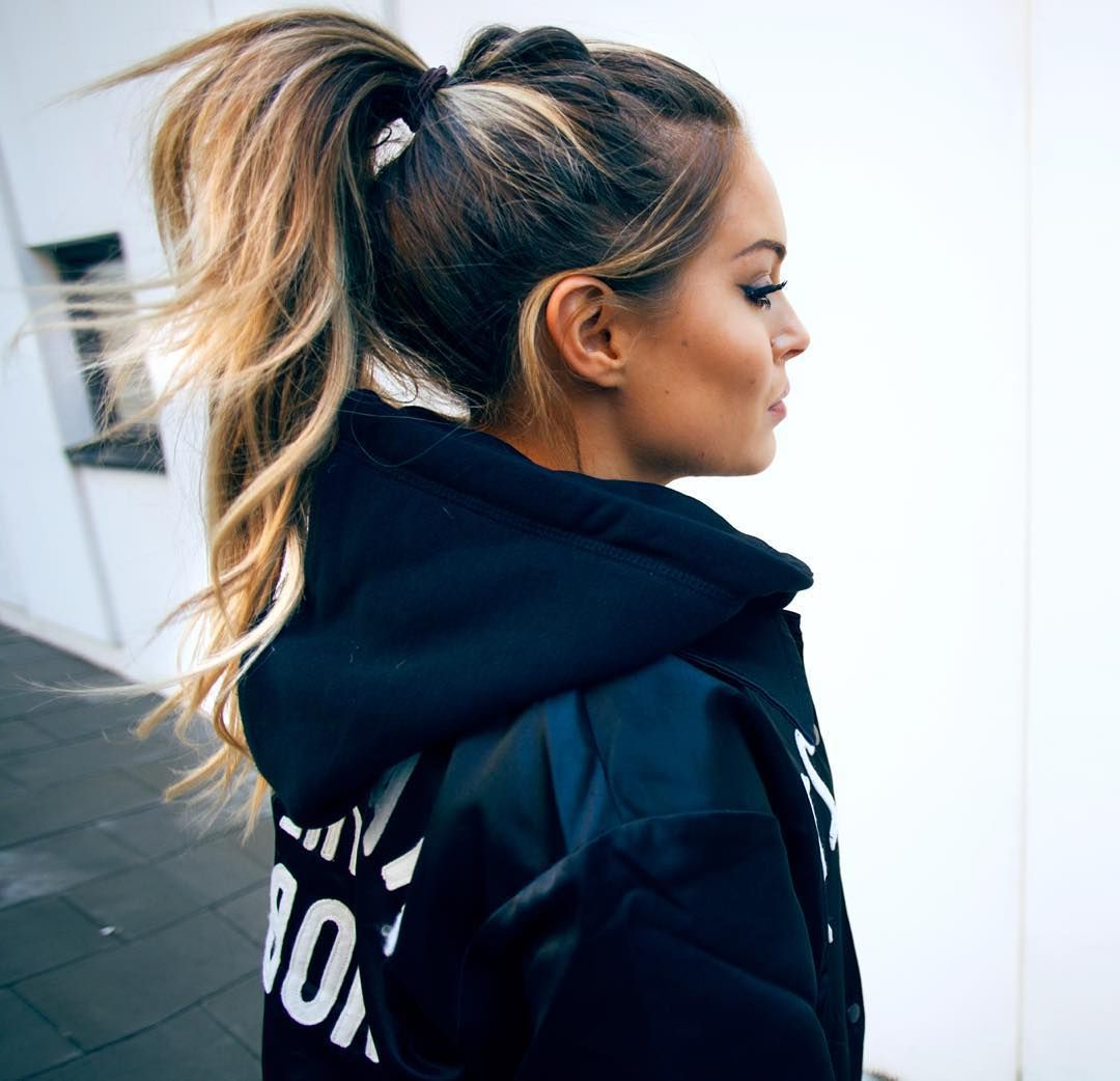 Well Liked Messy High Ponytail Hairstyles With Teased Top In High Ponytail For Long Dark Brown Hair With Honey Blonde (Gallery 12 of 20)