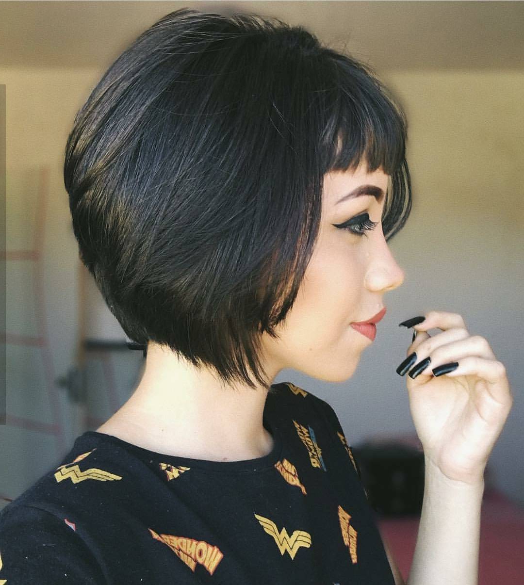 10 Chic Short Bob Haircuts That Balance Your Face Shape! Intended For Classy Bob Haircuts With Bangs (View 11 of 20)