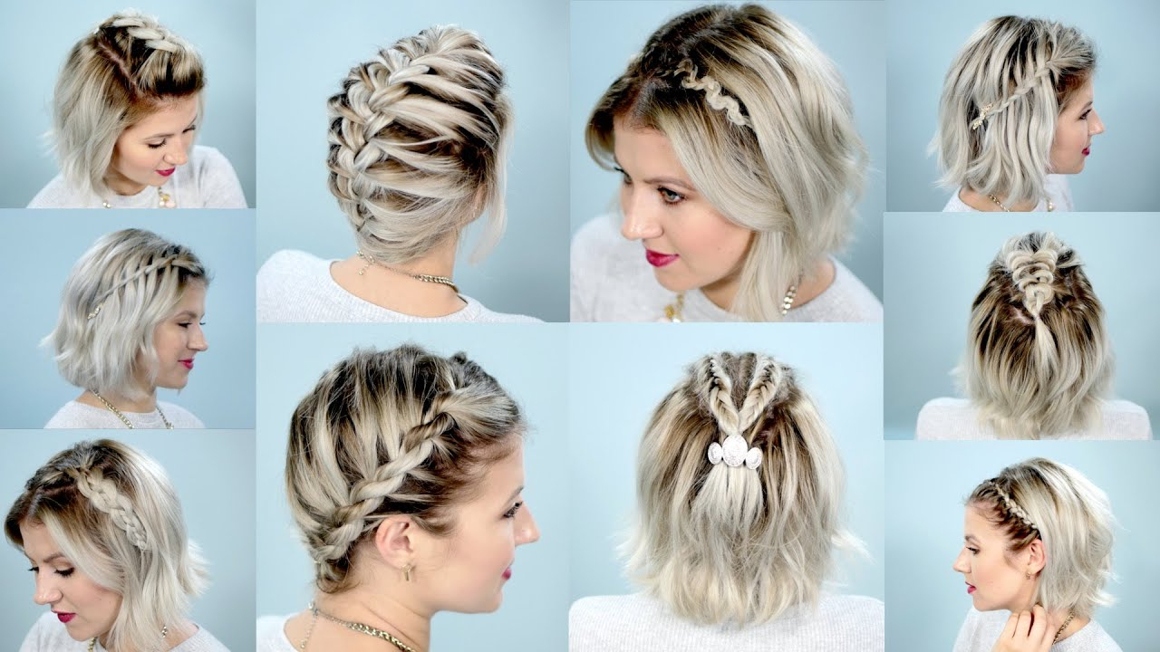 10 Easy Braids For Short Hair Tutorial | Milabu Regarding Pretty Short Bob Haircuts With Braid (Gallery 2 of 20)