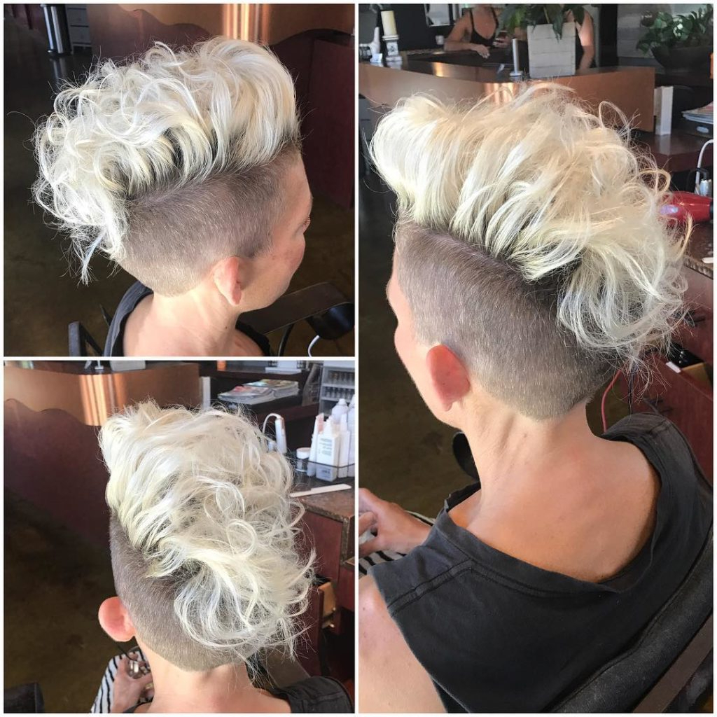 2020 Pixie Mohawk Haircuts For Curly Hair With Women's Platinum Curly Undercut Mohawk Style Pixie Short (View 3 of 20)