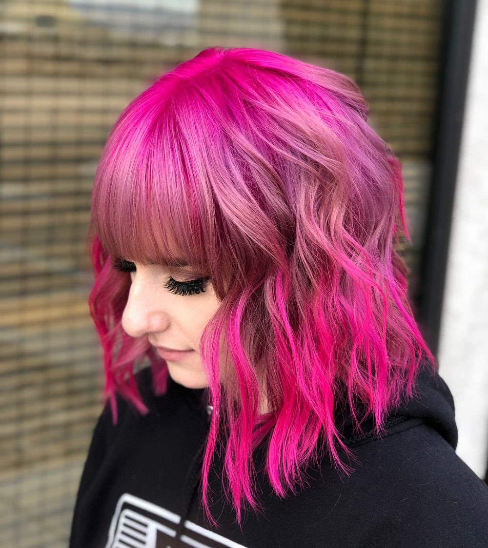 46 Bob With Bangs Hairstyle Ideas Trending For 2019 Intended For Pink Bob Haircuts (View 5 of 20)