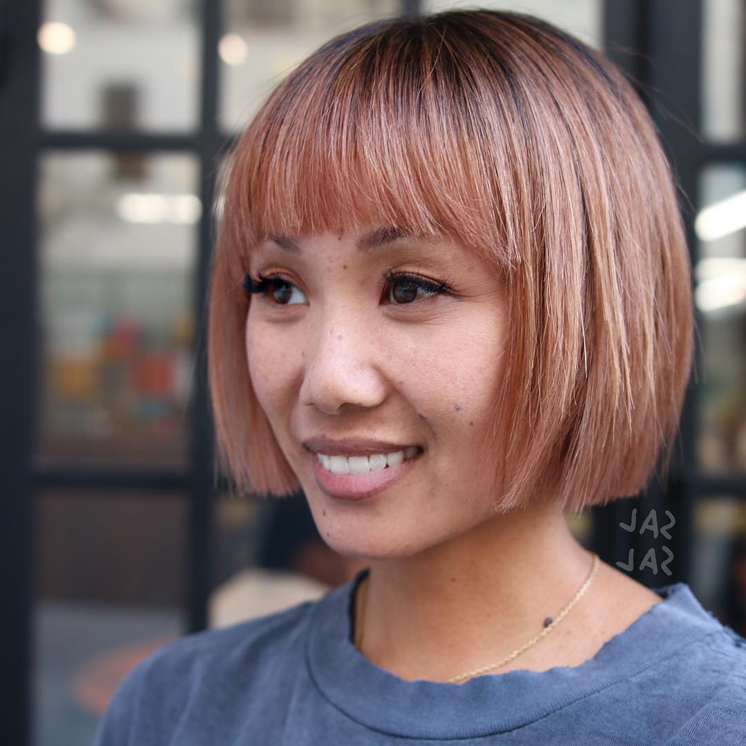 50 Amazing Blunt Bob Hairstyles You'd Love To Try In 2020 Regarding Blonde Blunt Haircuts Bob With Bangs (View 15 of 20)