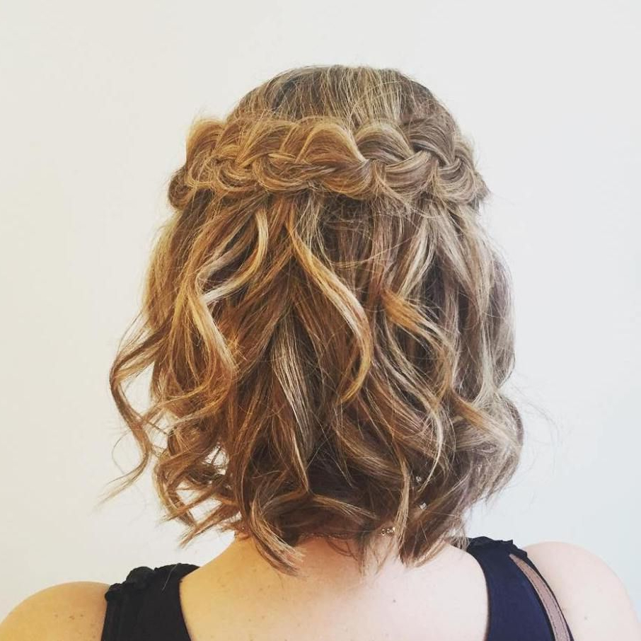 50 Hottest Prom Hairstyles For Short Hair | Hair In 2019 Inside Pretty Short Bob Haircuts With Braid (View 15 of 20)