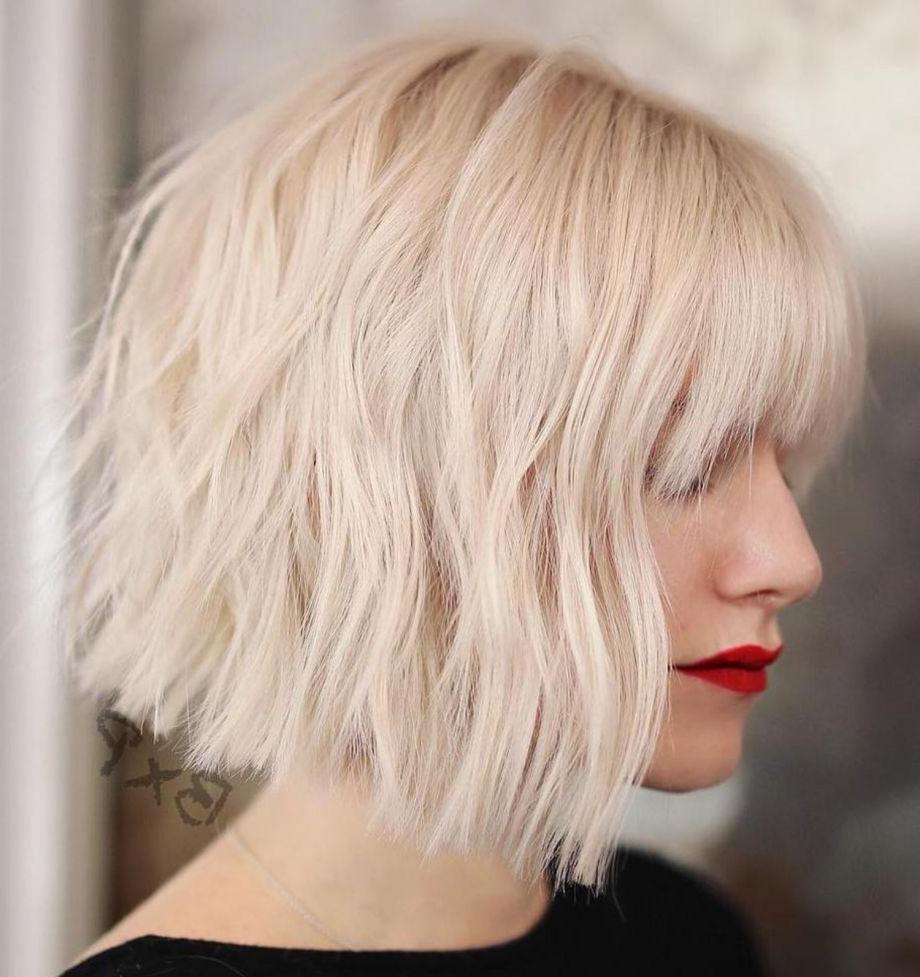 70 Fabulous Choppy Bob Hairstyles | Hair In 2019 | Choppy Regarding Blonde Blunt Haircuts Bob With Bangs (View 2 of 20)