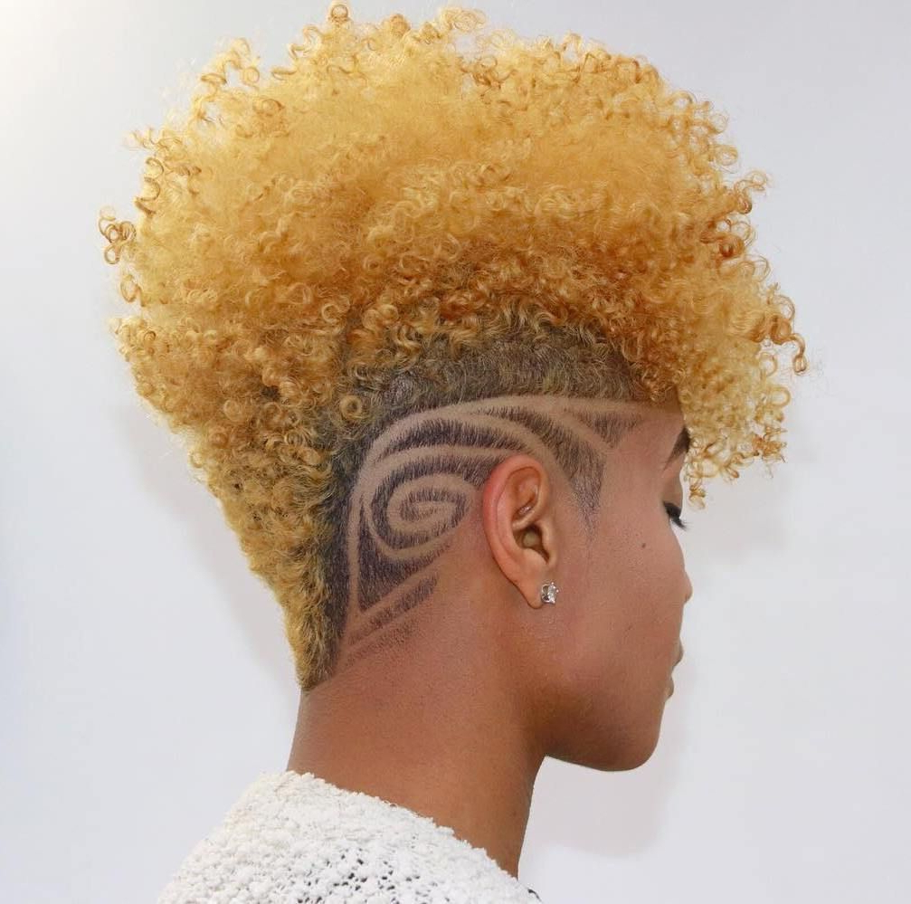 75 Most Inspiring Natural Hairstyles For Short Hair Regarding Widely Used Blonde Curly Mohawk Hairstyles For Women (Gallery 18 of 20)
