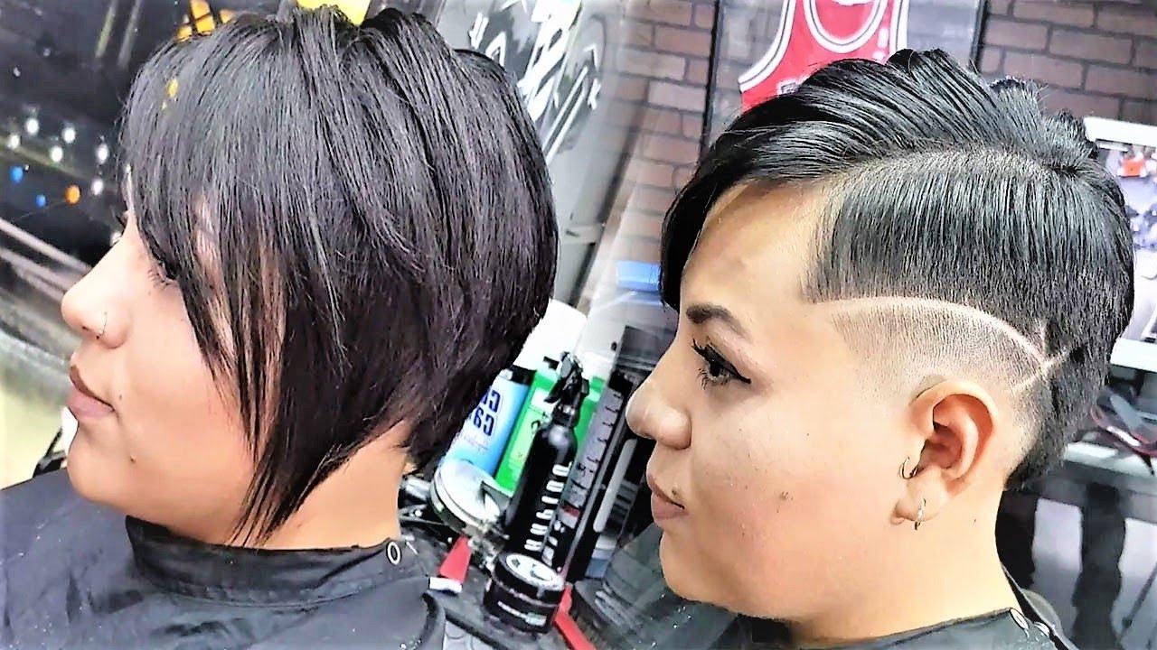 Amazing Haircut Women – Undercut Very Short Hair Cut Buzz Cut – Ideas Short Haircuts Throughout Trendy Asymmetrical Chop Mohawk Haircuts (View 13 of 20)