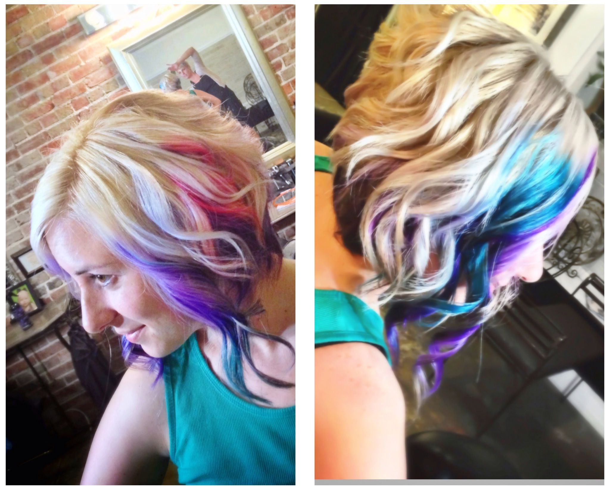 Blonde, Purple, Teal, And Rainbow. Angled Bob Cut (View 2 of 20)