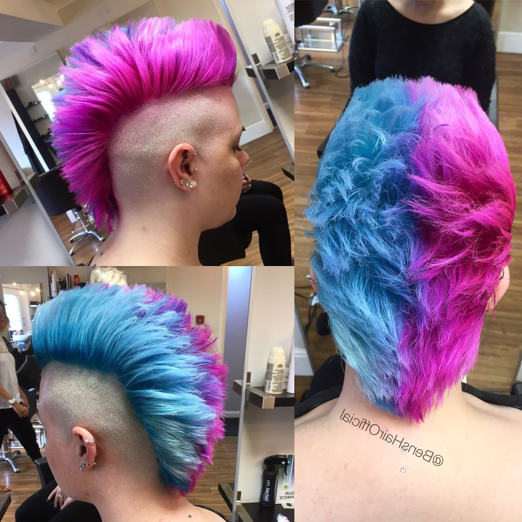 Bright Pink And Blue Mohawk (View 6 of 20)