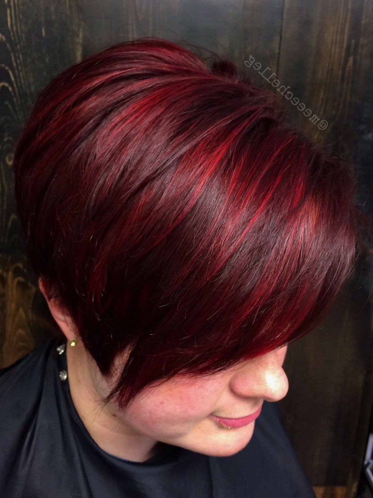 Bright Red, Red Highlights, Stand Out Red, Candy Apple Red With Regard To Trendy Pixie Haircuts With Vibrant Highlights (View 8 of 20)