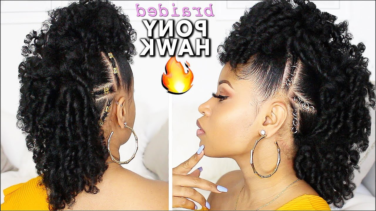 Easy & Defined Curly Braided Mohawk! ⇢ Natural Hair Tutorial Intended For Latest Braided Mohawk Hairstyles With Curls (View 8 of 20)