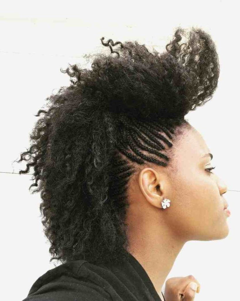 Famous Feminine Curly Mohawk Haircuts Pertaining To Mohawk Braid Hairstyles, Black Braided Mohawk Hairstyles (View 10 of 20)