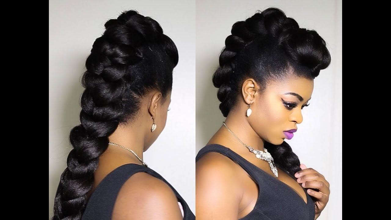 Faux Braided Mohawk On Natural Hair!!!!!! Regarding Most Recent Full Braided Mohawk Hairstyles (View 16 of 20)