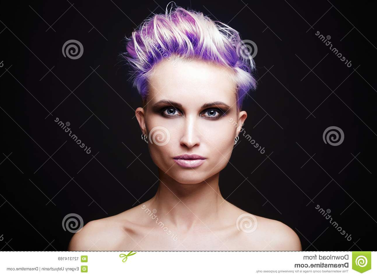 Girl With Blue Hair Style And Make Up Stock Image – Image Of Inside Most Current Blue Hair Mohawk Hairstyles (View 9 of 20)
