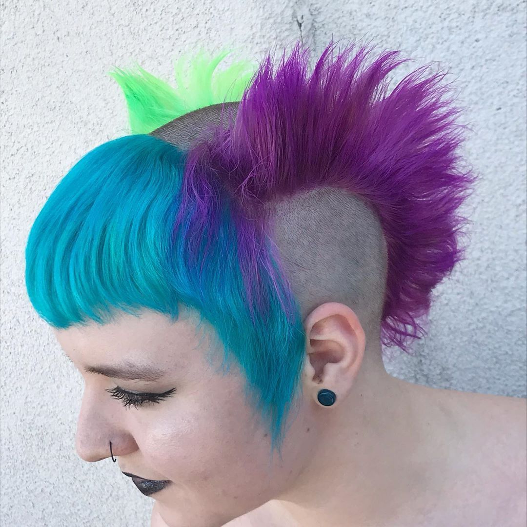 Girl With Multi Color Bihawk / Mohawk Hairstyle / Shaved With Regard To Most Recent Shaved And Colored Mohawk Haircuts (View 6 of 20)