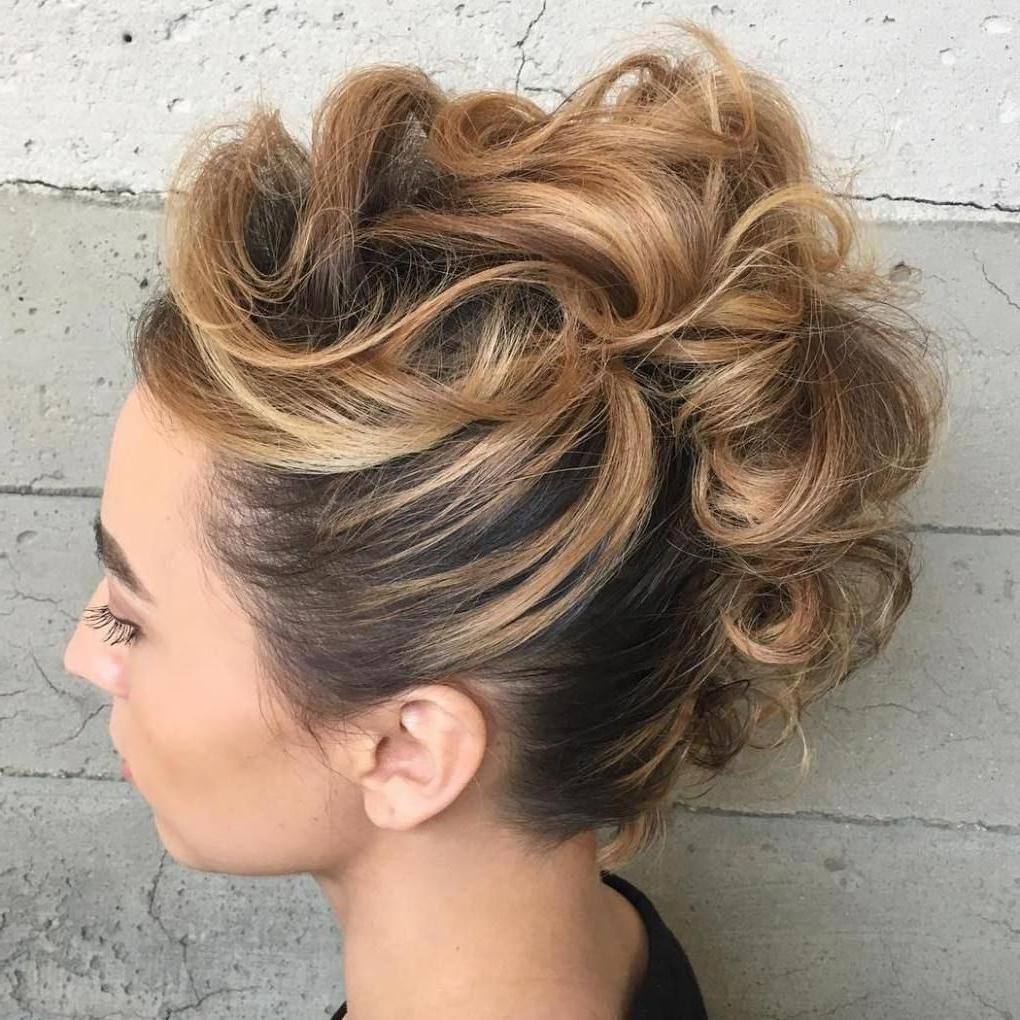 Featured Photo of Elegant Curly Mohawk Updo Hairstyles