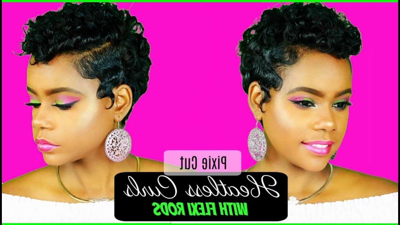 Heatless Curls On Relaxed Short Hair | Pixie Cut | Flexi Rods | Hair Tutorial | Leann Dubois For Short Pixie Haircuts With Relaxed Curls (View 3 of 20)