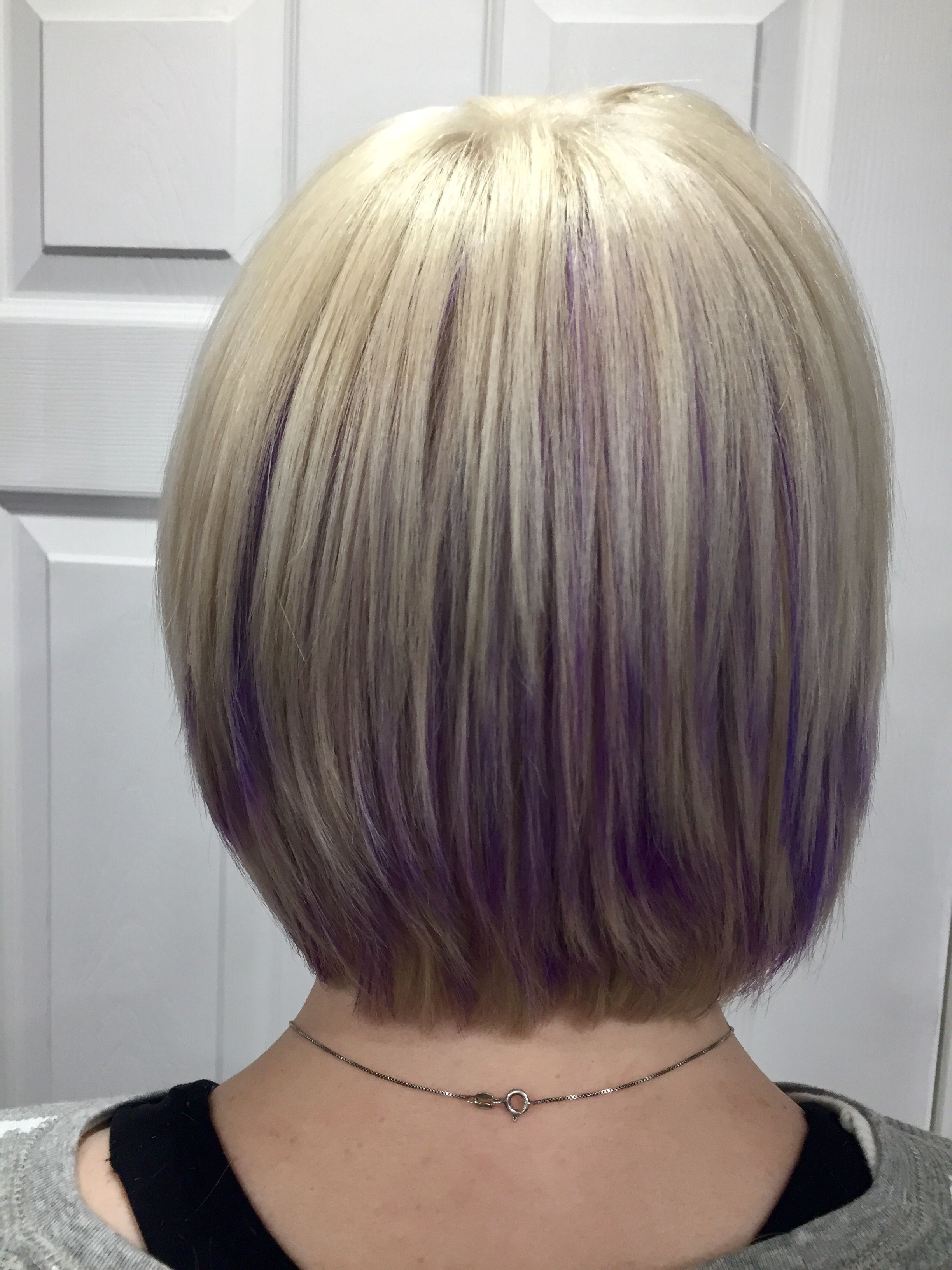 Hidden Purple Highlights Under Platinum Blonde Hair (View 9 of 20)