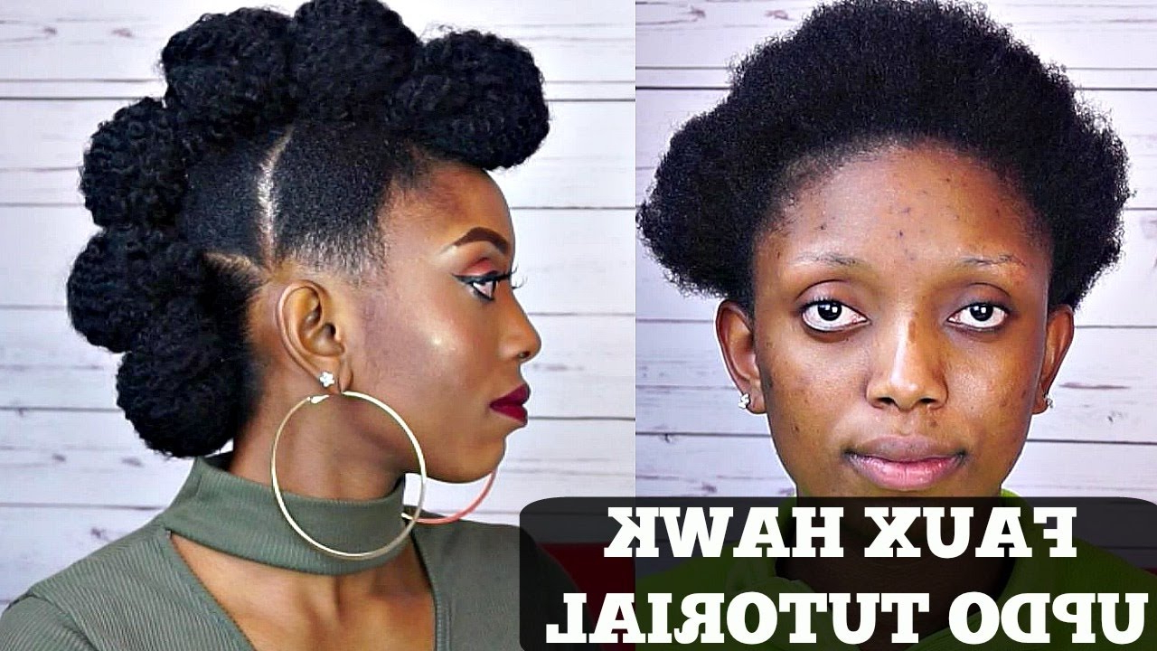 How To Faux Hawk Updo Tutorial On Short Natural Hair Intended For Popular Fierce Mohawk Hairstyles With Curly Hair (View 11 of 20)