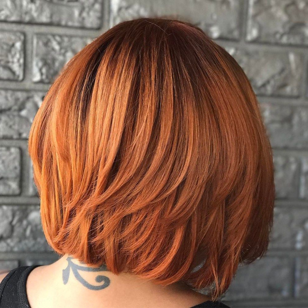 Layered Bright Copper Red Bob | Bobs In 2019 | Medium Bob Inside Bright Bob Hairstyles (View 5 of 20)