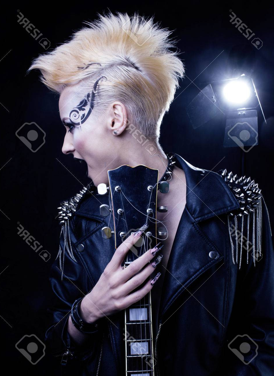 Most Current Rocker Girl Mohawk Hairstyles Within Fashion Rocker Style Model Girl Portrait. Hairstyle. Punk Woman. (View 11 of 20)
