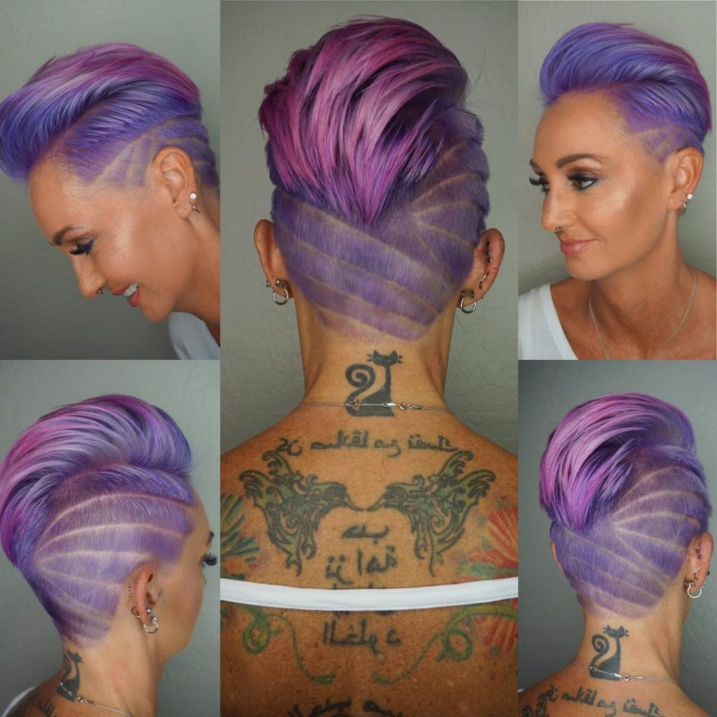 Most Popular Pixie Faux Hawk Haircuts Intended For Women's Wild Purple Pink Ombre Faux Hawk Pixie With Shave (View 13 of 20)