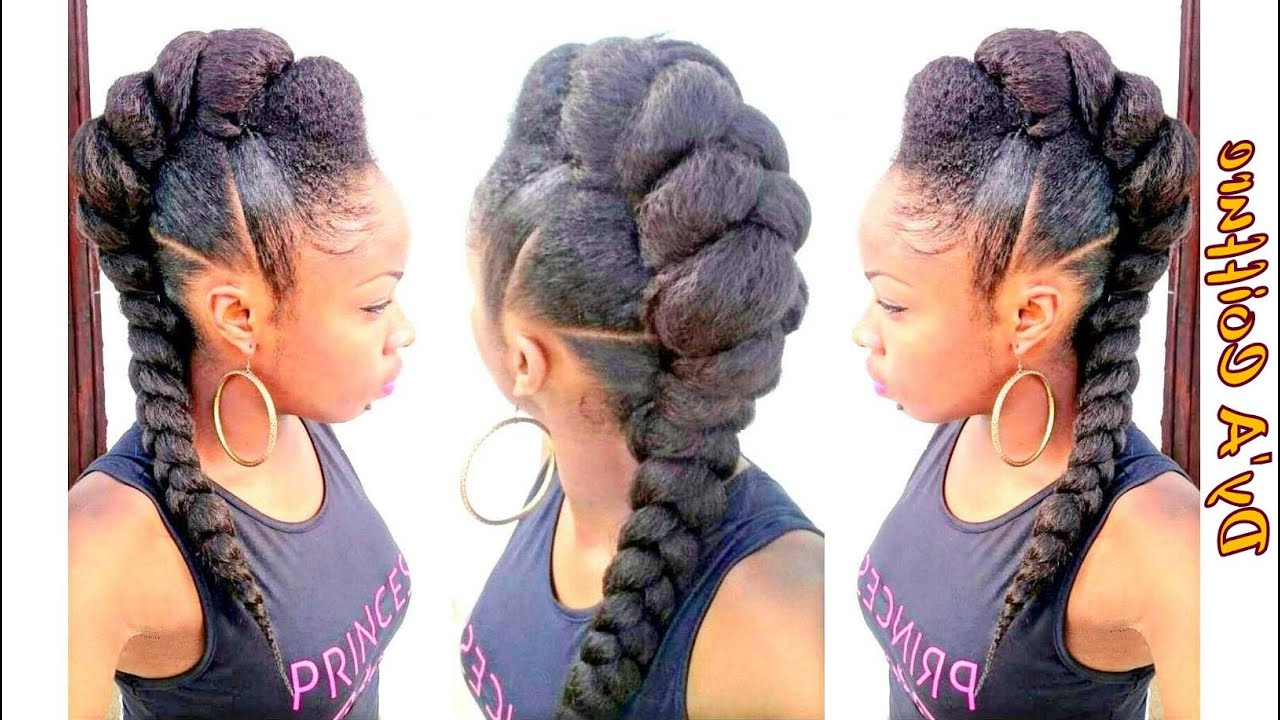 Most Recently Released Big Braid Mohawk Hairstyles Throughout Diy ★ Mohawk / Faux Hawk Style With A Jumbo Braid Dy'a (View 2 of 20)