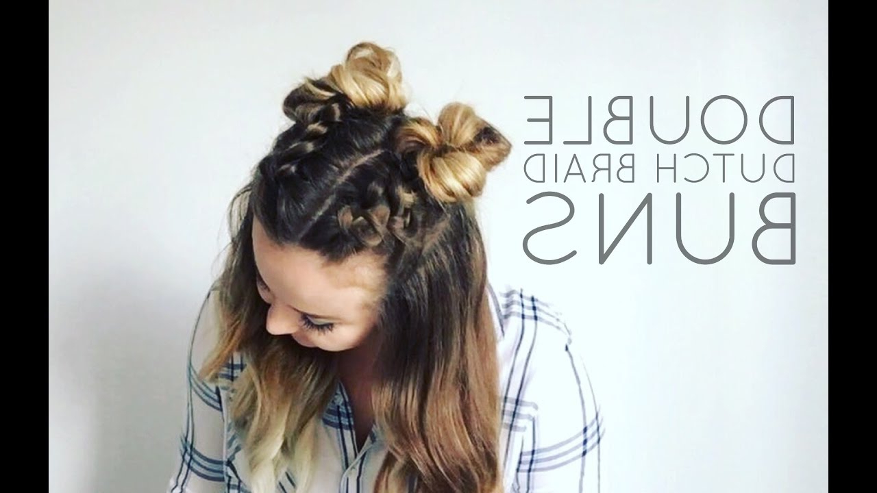 Most Recently Released Cassie Bun Mohawk Hairstyles With Double Dutch Braid Buns Half Up Hairstyle (View 16 of 20)