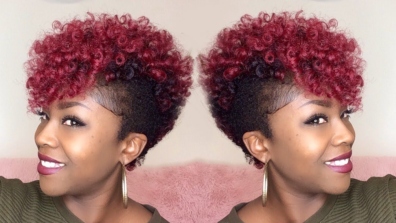 Most Recently Released Curly Red Mohawk Hairstyles Intended For How To Tapered Crochet Mohawk {janet Yoyokalon Hair} Super (View 7 of 20)