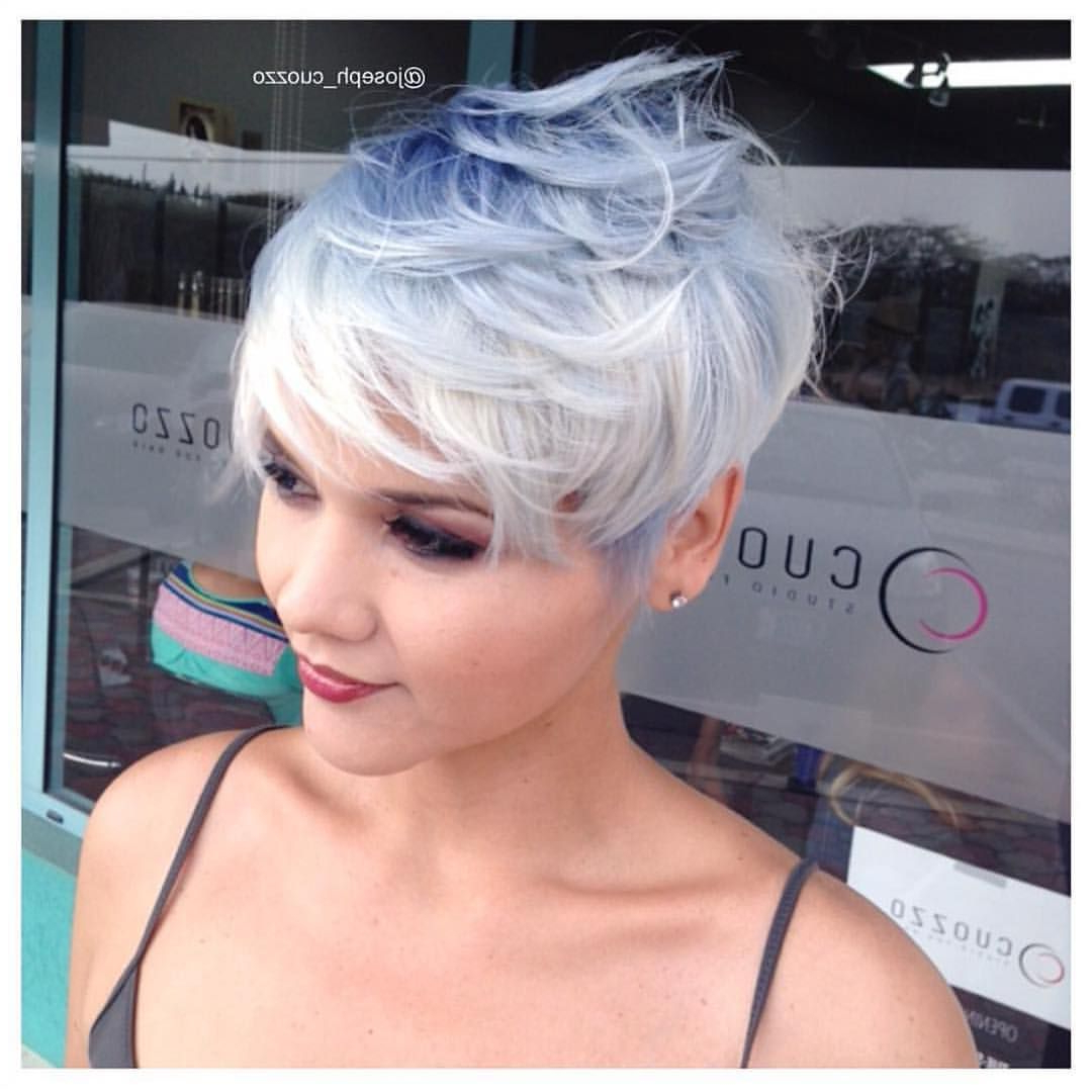 Pastel Blue And Icy White Color@joseph Cuozzo And For Pastel Pixie Haircuts With Curly Bangs (View 4 of 20)
