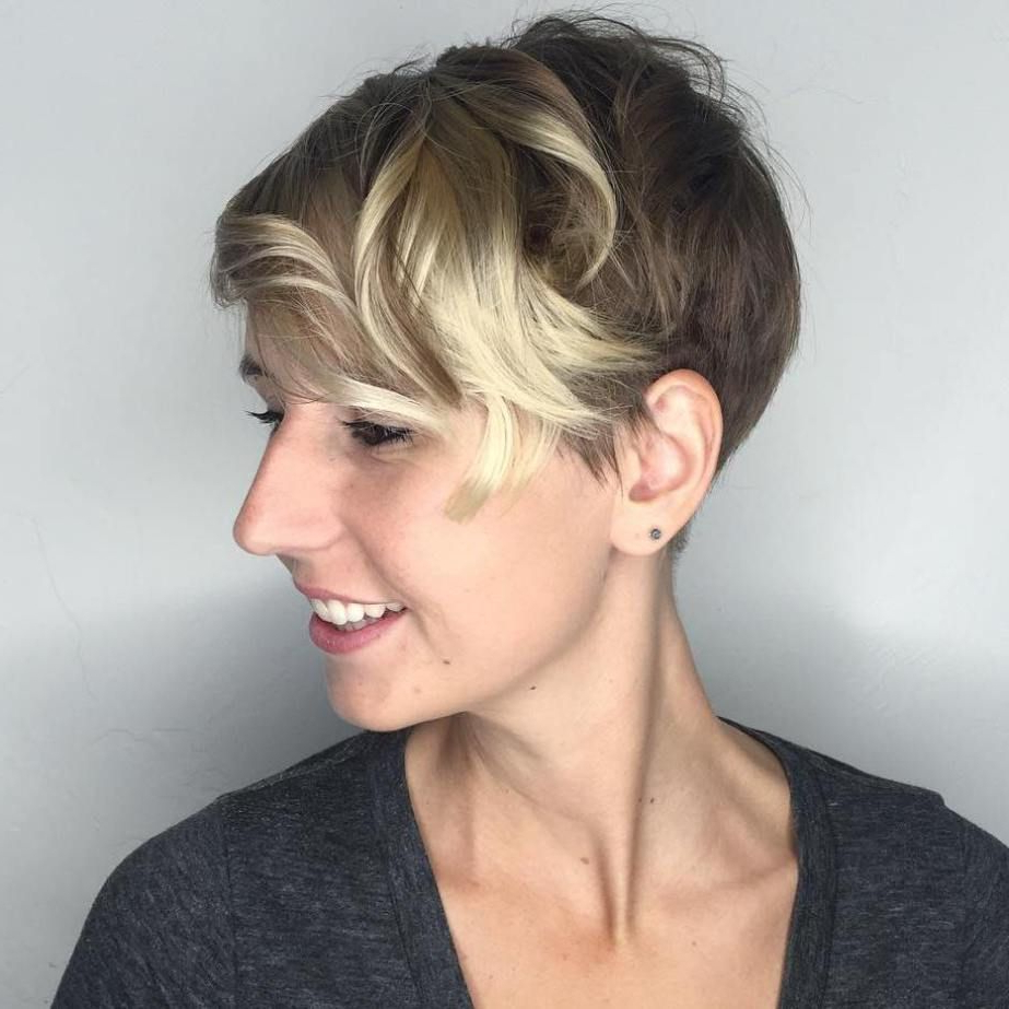 Pin On A Dash Of Sass With Blonde Pixie Haircuts With Curly Bangs (View 13 of 20)