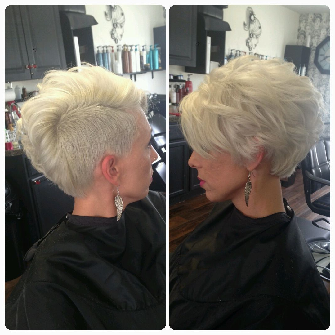 Preferred Asymmetrical Chop Mohawk Haircuts Inside Asymmetrical Pixie, Shaved Side, Mohawk, Platinum Blonde (View 2 of 20)