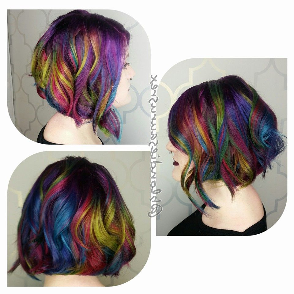 Rainbow Hair Mermaid Hair Color And Layered Lob Haircut Intended For Rainbow Bob Haircuts (View 5 of 20)