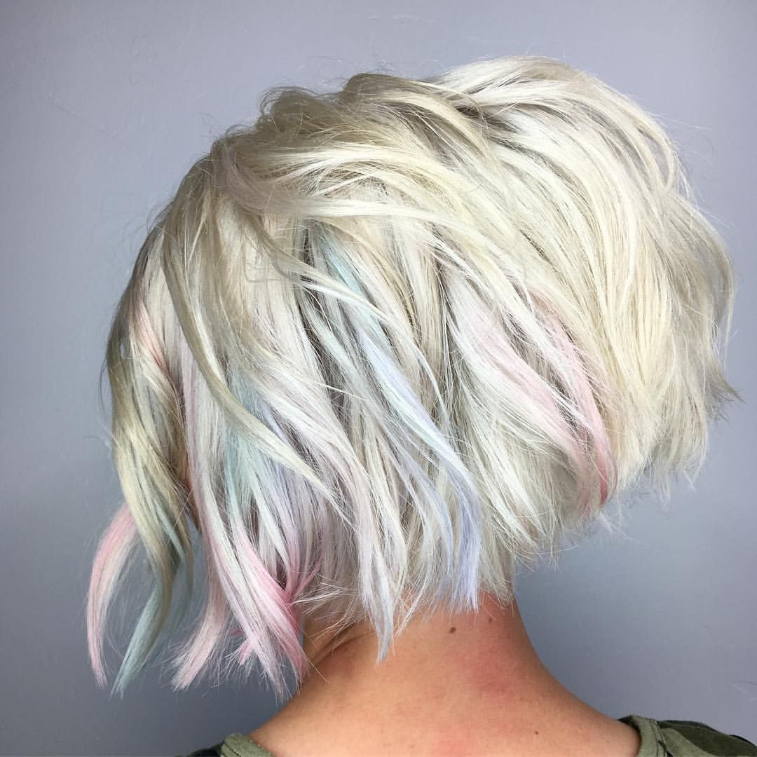 Short Icy Blonde Rainbow Bob In 2019 | Bobs For Thin Hair Pertaining To Rainbow Bob Haircuts (View 4 of 20)