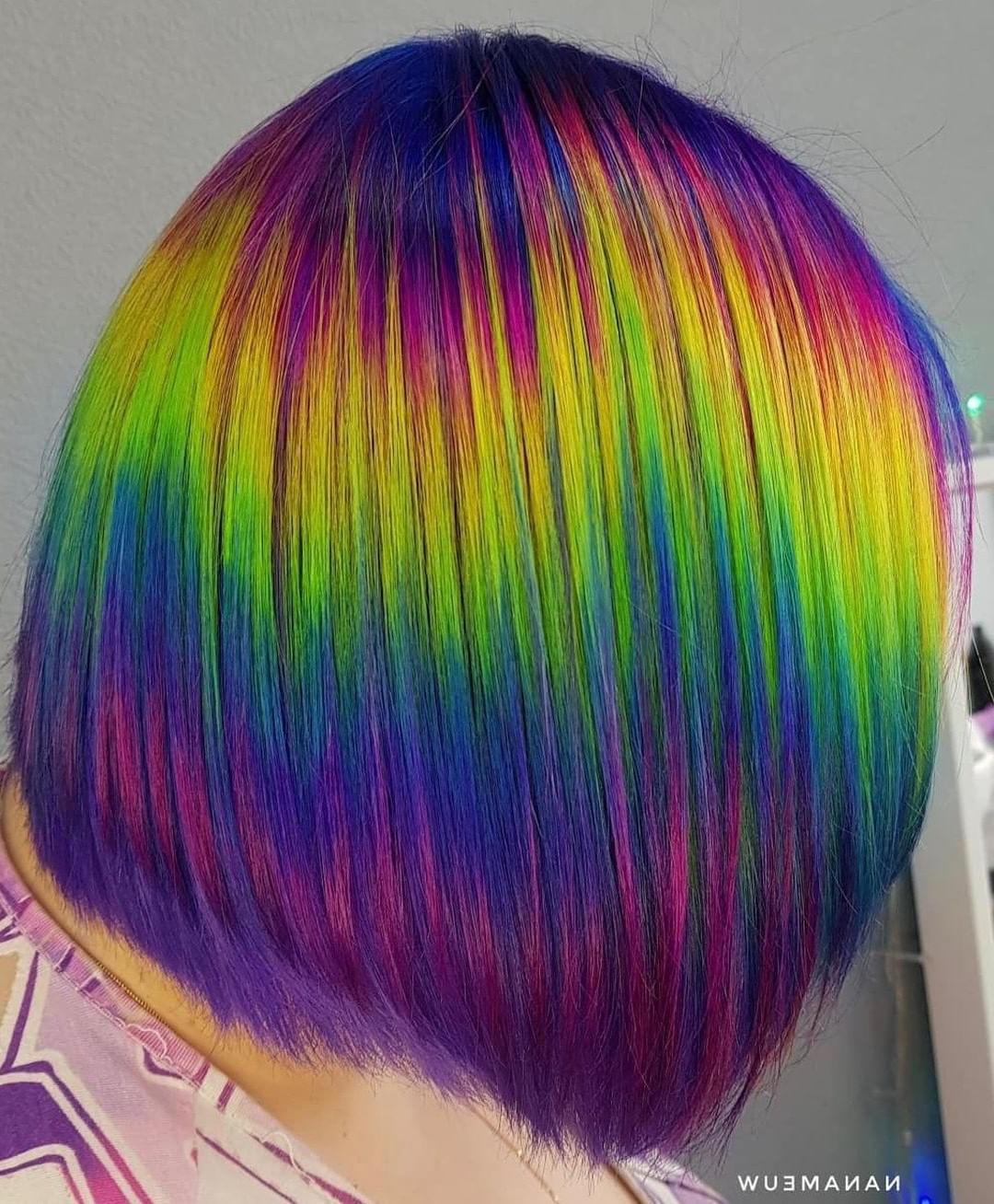 Stunning Rainbow Glitch Bob@nanameuw #lunartides With Rainbow Bob Haircuts (View 3 of 20)