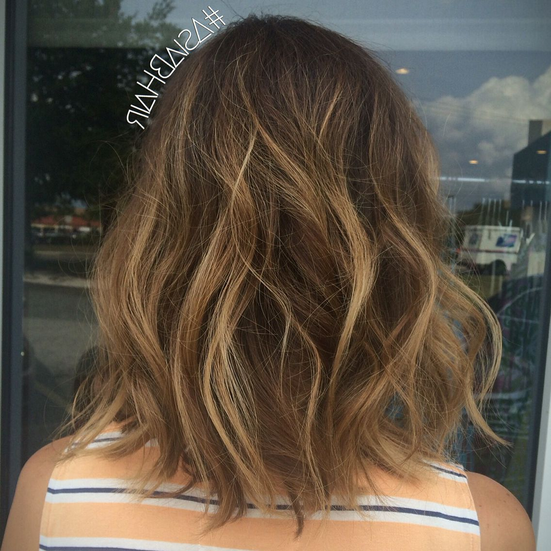 Sun Kissed Brunette Balayage Highlights + A Chop #balayage In Sun Kissed Bob Haircuts (View 9 of 20)