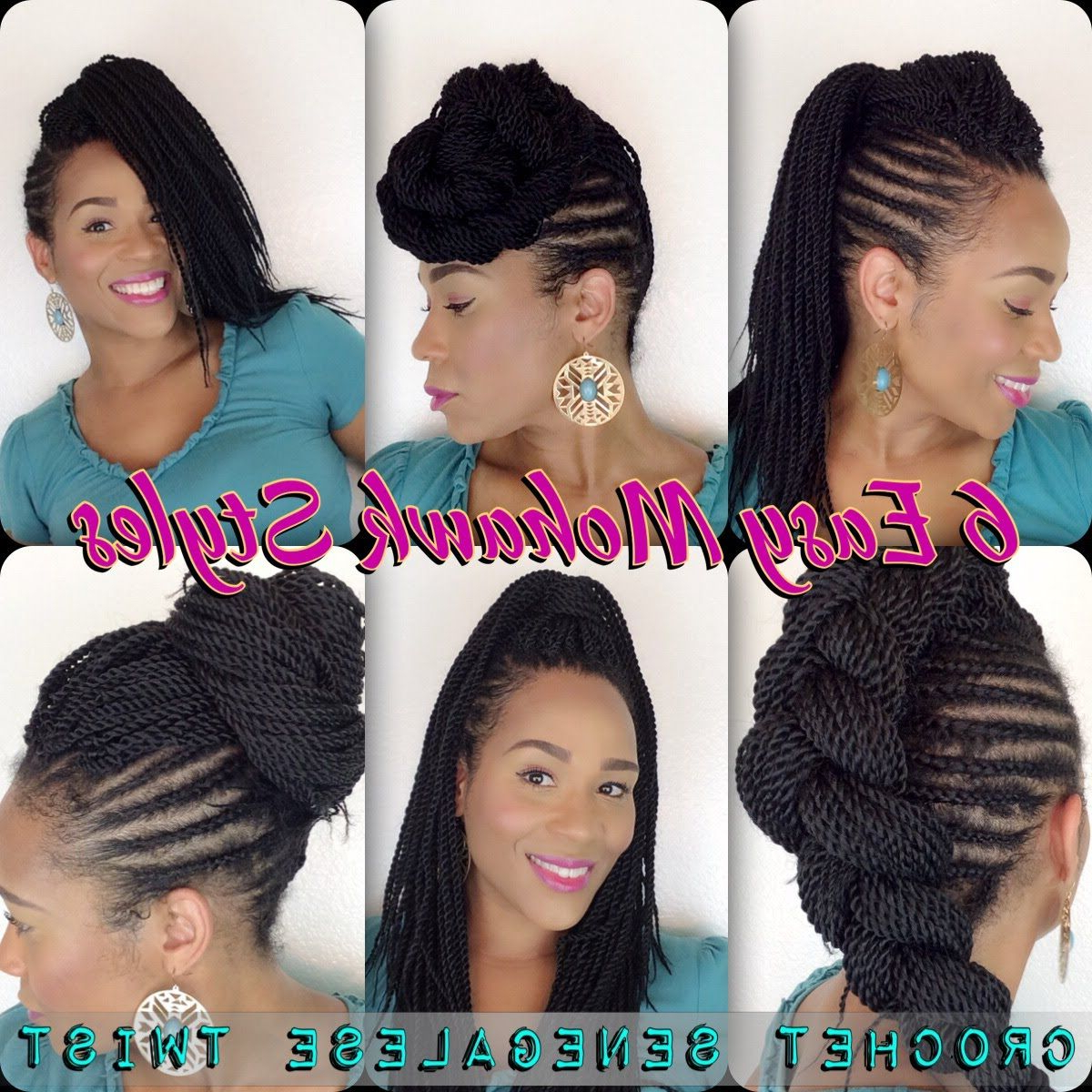 Trendy Fully Braided Mohawk Hairstyles Inside 6 Easy Mohawk Styles – Senegalese Twist (View 18 of 20)