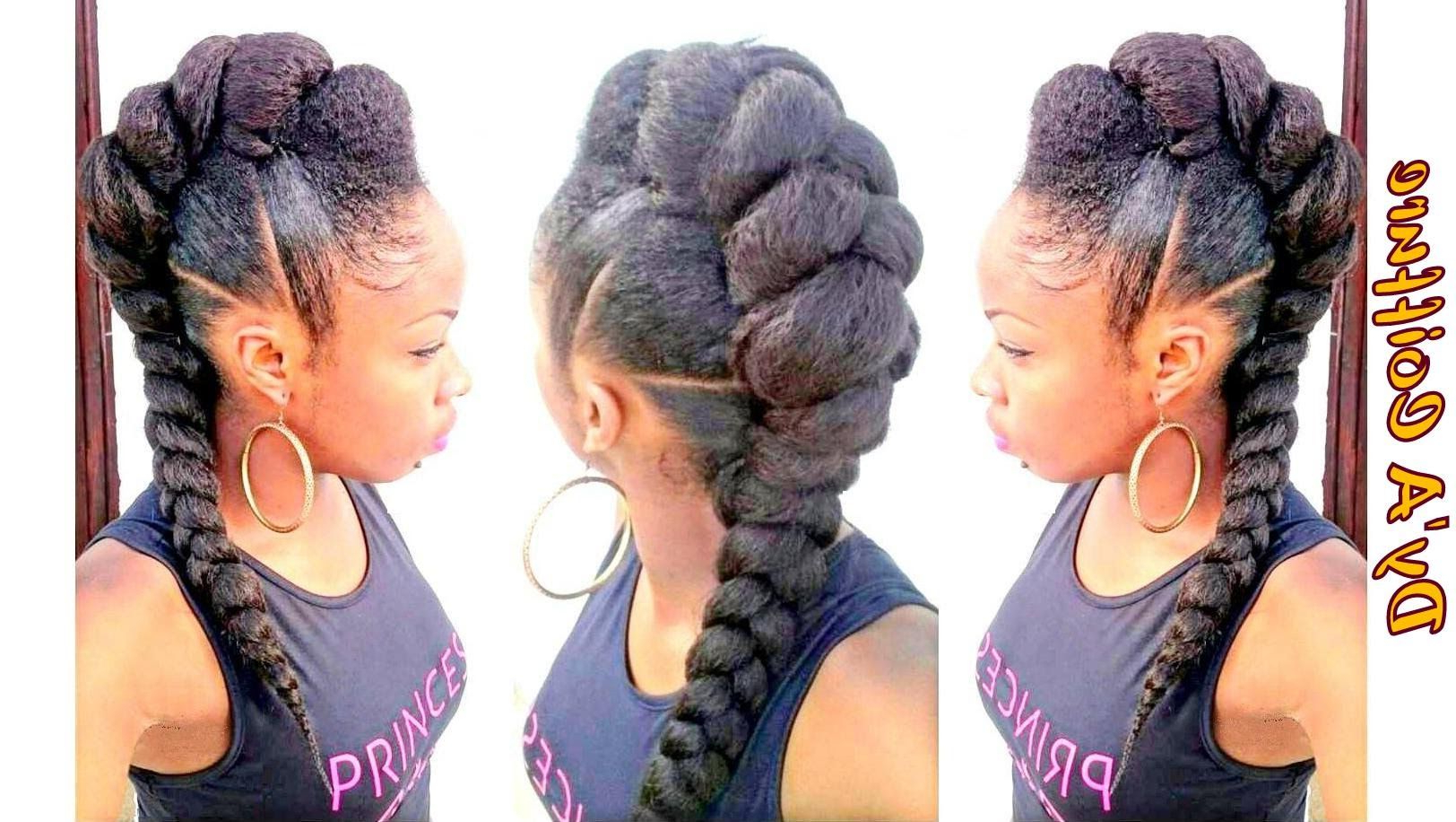 Tutorial : Mohawk / Faux Hawk Style With A Jumbo Braid In Famous Faux Mohawk Hairstyles With Natural Tresses (View 19 of 20)