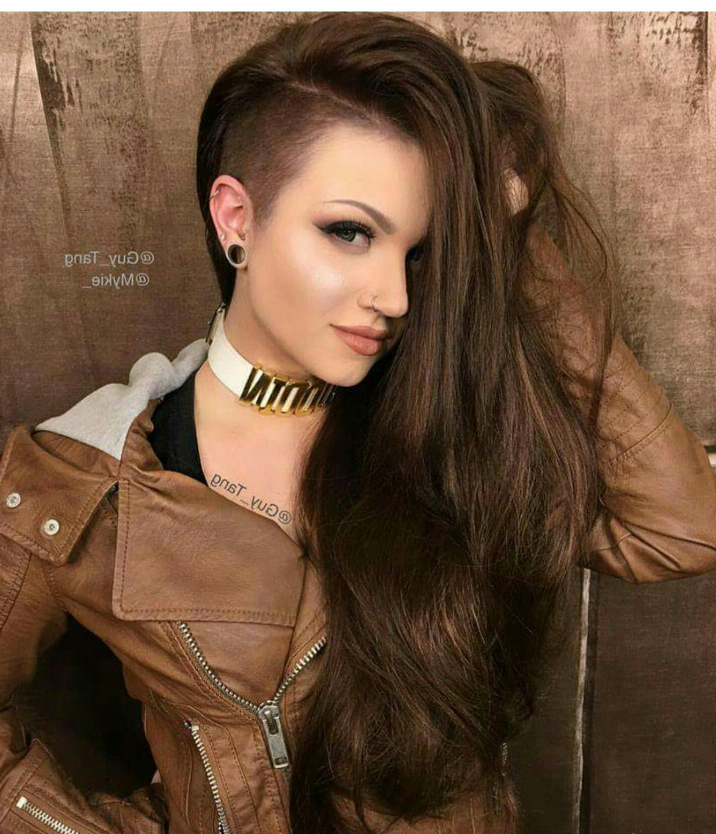 Well Liked Side Shaved Long Hair Mohawk Hairstyles Regarding Mykie Glam And Gore Guy Tang Brown Side Shave Hair Hairstyle (View 16 of 20)