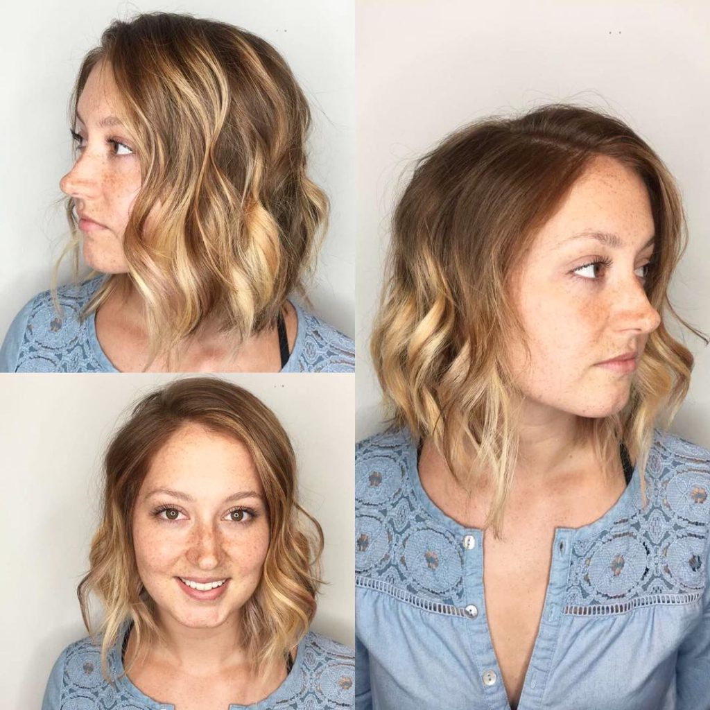 Women's Blonde Sun Kissed Balayage Bob With Wavy Texture Throughout Sun Kissed Bob Haircuts (View 6 of 20)